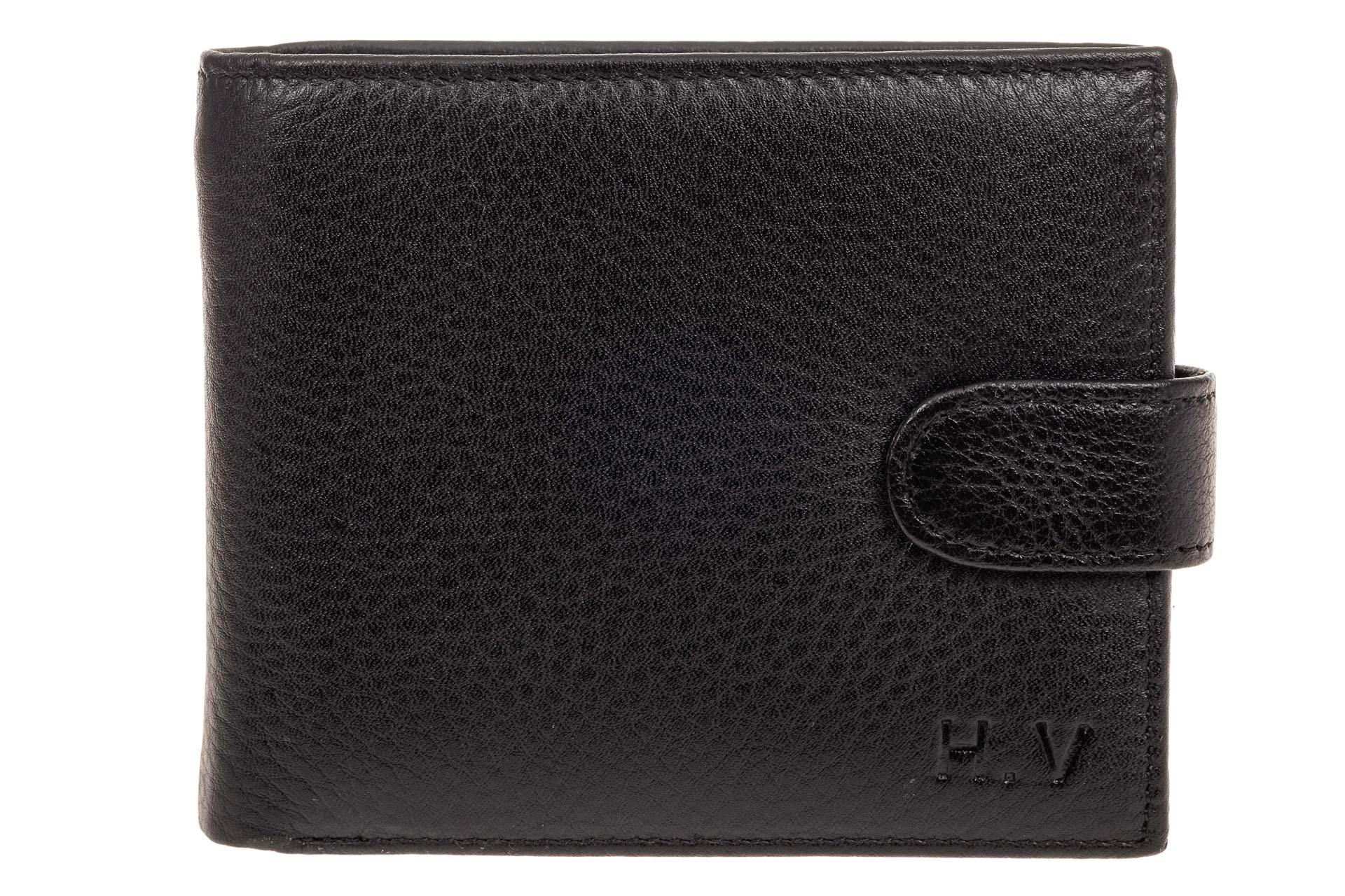 На фото 1 - Мужское портмоне (кошелек) из кожи, черное