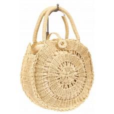 На фото 1 - Круглая плетеная сумка из соломы, цвет молочный