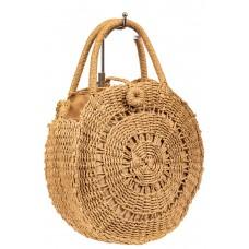 На фото 1 - Круглая плетеная сумка из соломы, цвет крафт