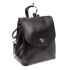 На фото 1 - Классический женский рюкзак трансформер из натуральной кожи, цвет черный