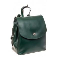На фото 1 - Классический женский рюкзак трансформер из натуральной кожи, цвет зеленый