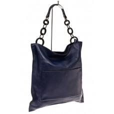 На фото 1 - Сумка-мешок из натуральной кожи, цвет синий
