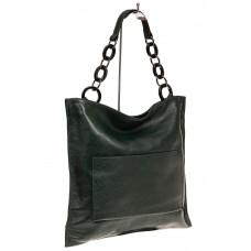 На фото 1 - Сумка-мешок из натуральной кожи, цвет зелен...
