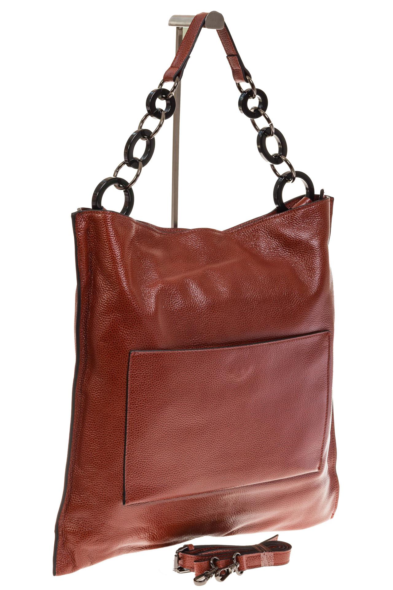 На фото 1 - Минималистичная сумка из натуральной кожи, цвет бордово-красный 5506