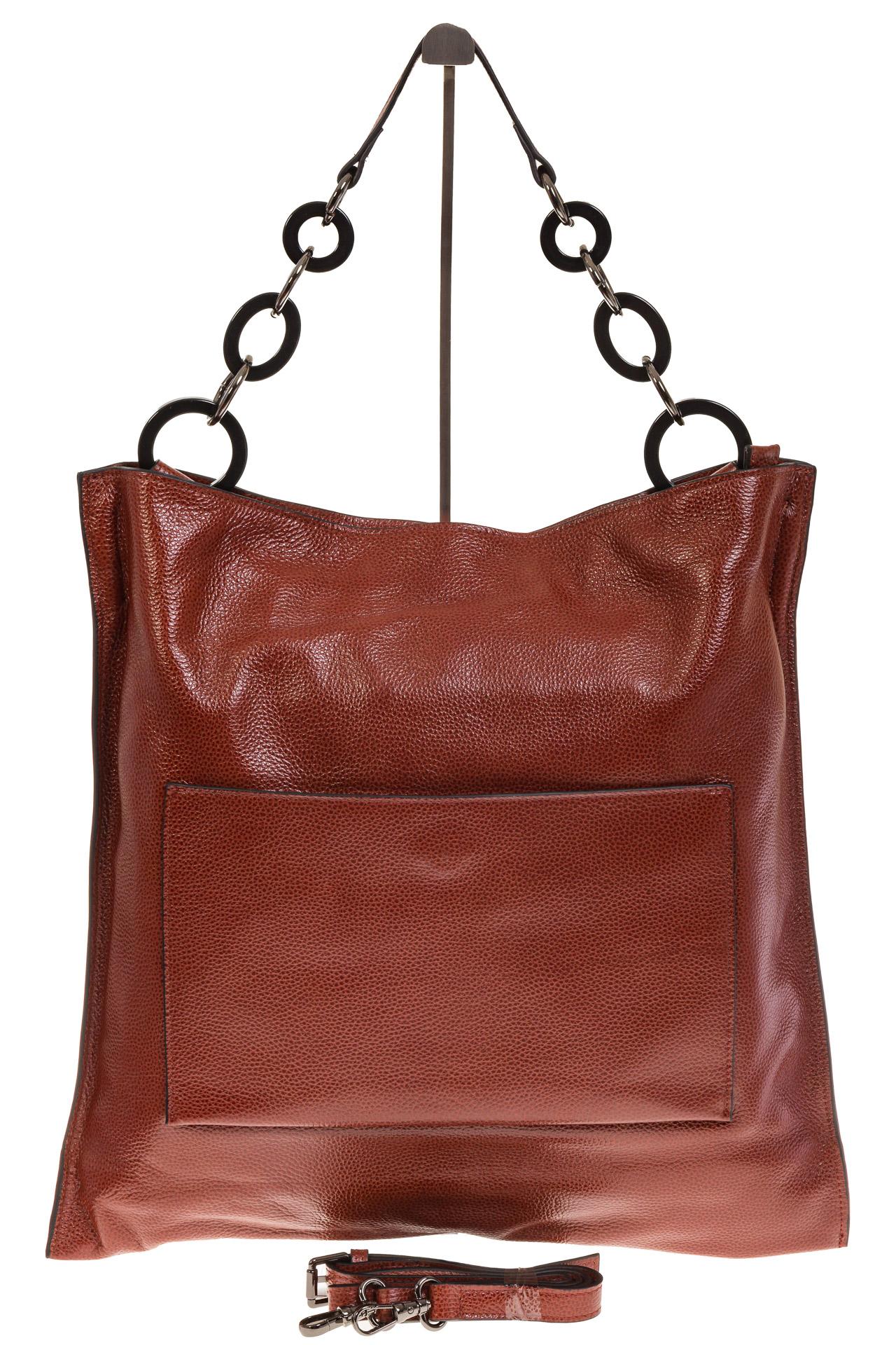 На фото 2 - Минималистичная сумка из натуральной кожи, цвет бордово-красный 5506