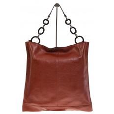 На фото 3 - Минималистичная сумка из натуральной кожи, цвет бордово-красный 5506