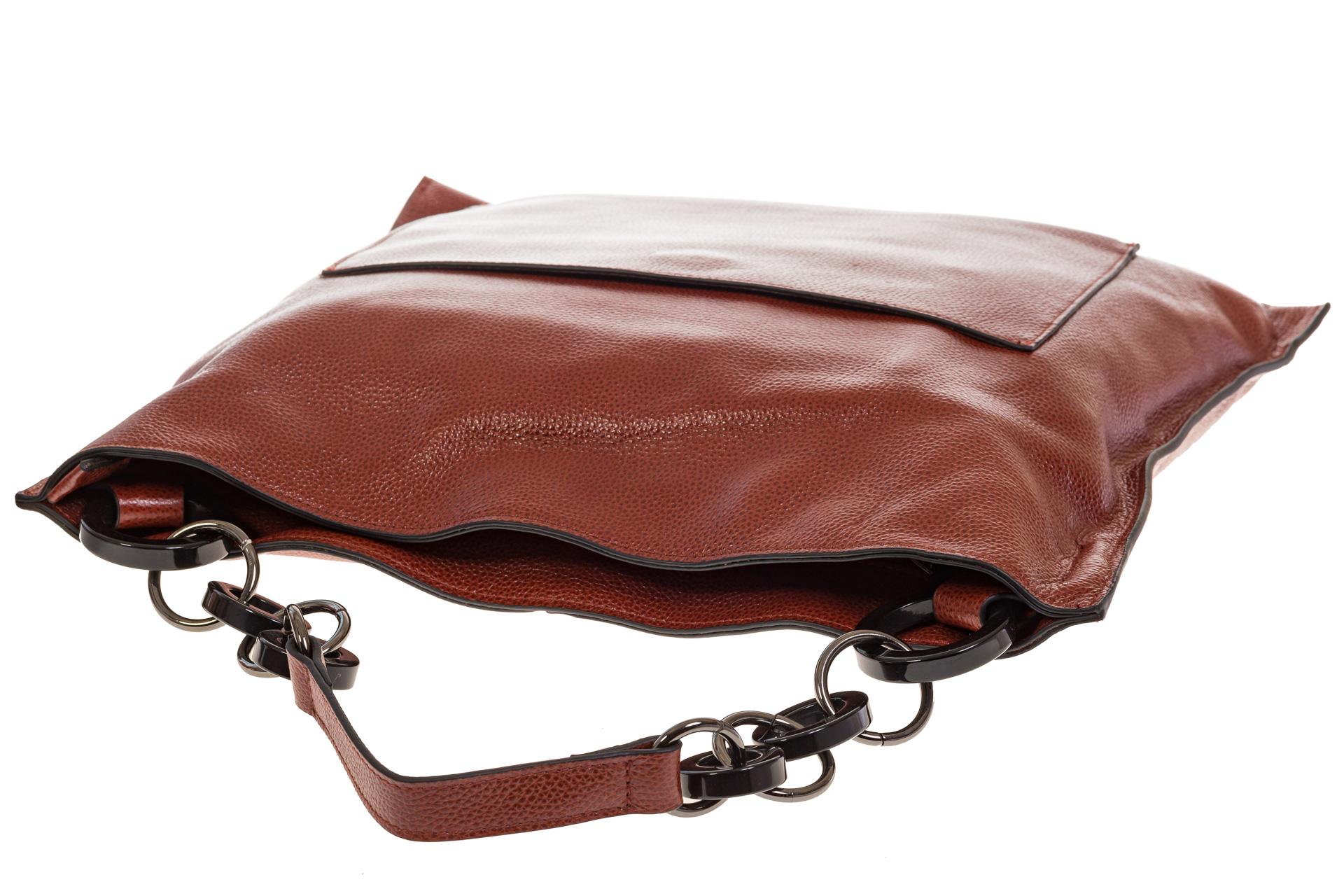 На фото 4 - Минималистичная сумка из натуральной кожи, цвет бордово-красный 5506