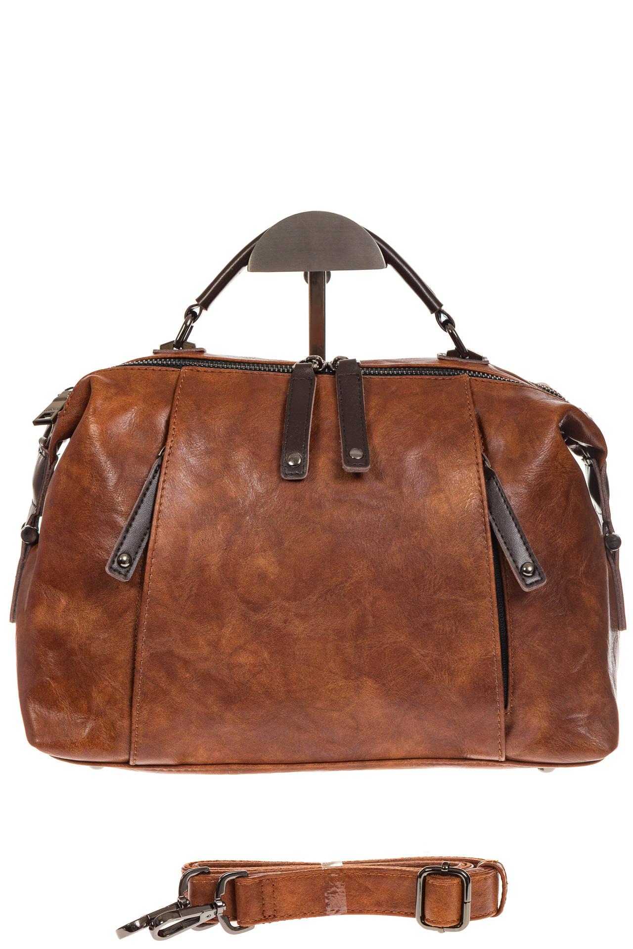 На фото 2 - Коричневая сумка-купол из искусственной кожи