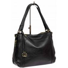 На фото 1 - Классическая женская сумка из натуральной кожи с декоративной подвеской, цвет чёрный