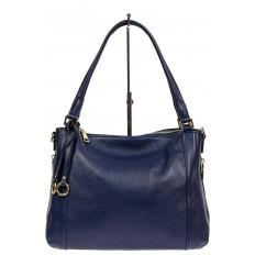 На фото 2 - Классическая женская сумка из натуральной кожи с декоративной подвеской, цвет тёмно-синий