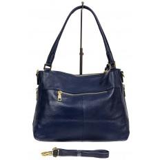 На фото 3 - Классическая женская сумка из натуральной кожи с декоративной подвеской, цвет тёмно-синий