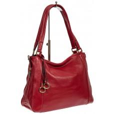 На фото 1 - Классическая женская сумка из натуральной кожи с декоративной подвеской, цвет красный