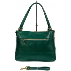 На фото 3 - Классическая женская сумка из натуральной кожи с декоративной подвеской, цвет зелёный