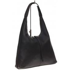 На фото 1 - Кожаная сумка хобо, цвет черный