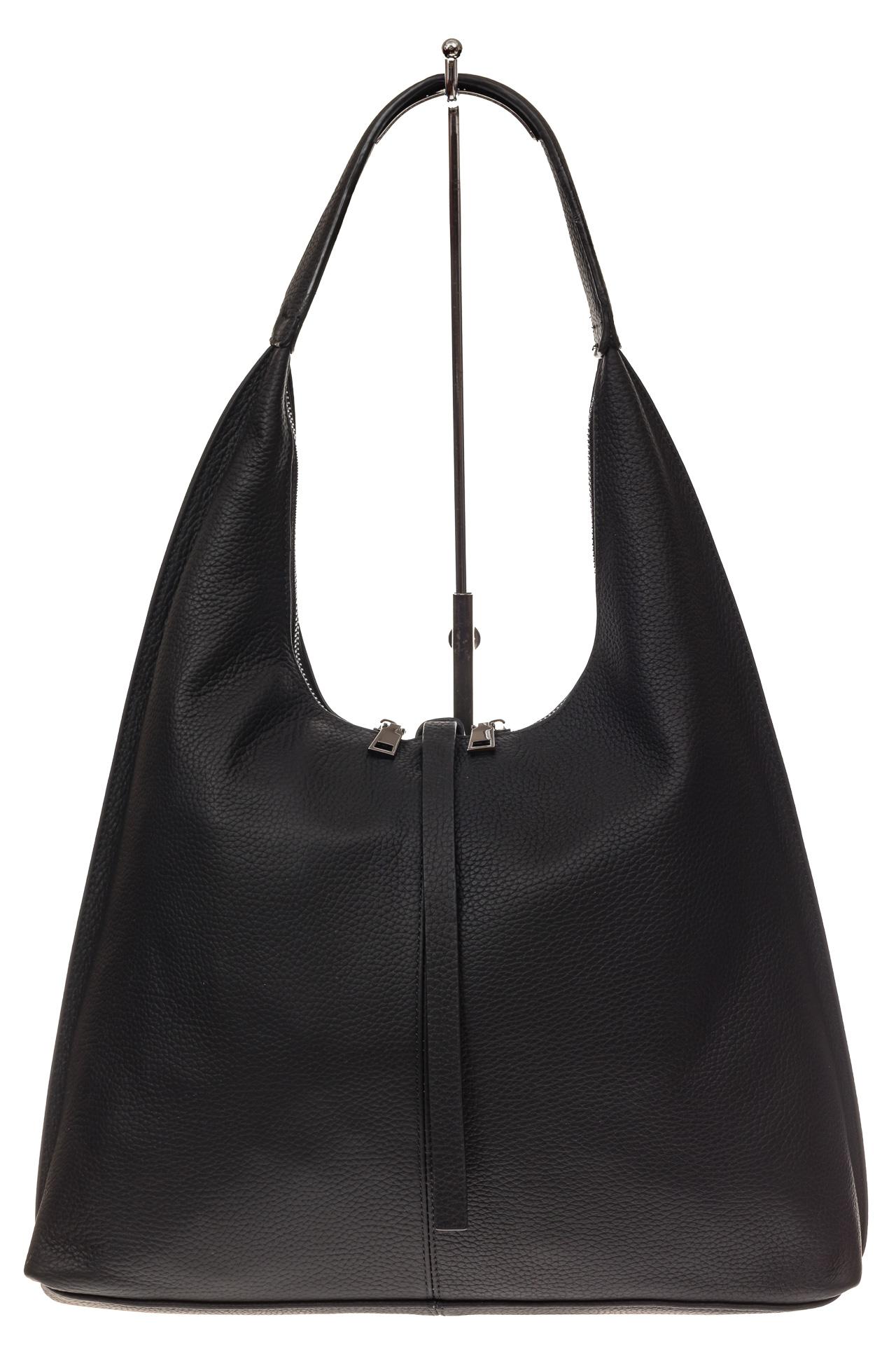 На фото 2 - Кожаная сумка хобо, цвет черный