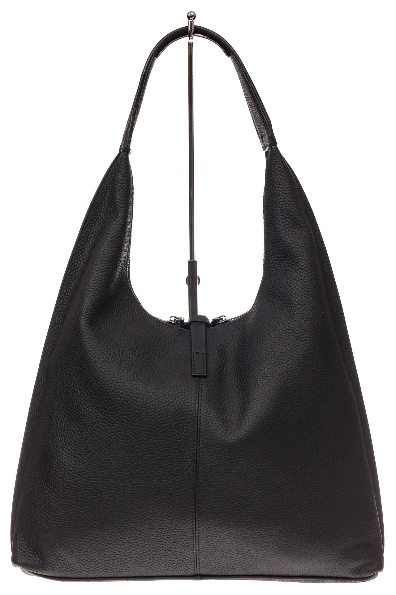 На фото 3 - Кожаная сумка хобо, цвет черный
