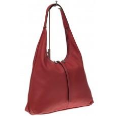 На фото 1 - Кожаная сумка хобо, цвет красный