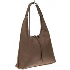 На фото 1 - Кожаная сумка хобо, цвет кофе с молоком
