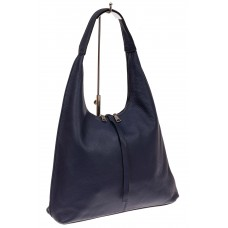На фото 1 - Кожаная сумка хобо, цвет синий
