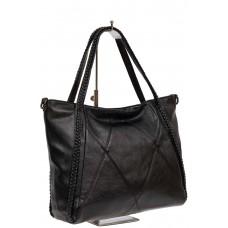 На фото 1 - Женская сумка из искусственной кожи с плетёными ручками, цвет чёрный