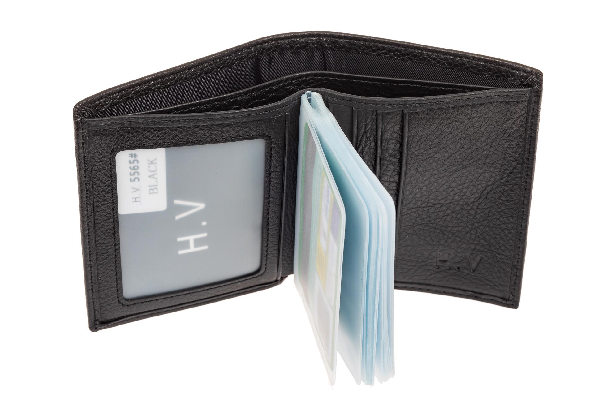 На фото 2 - Мужская визитница портмоне из натуральной кожи, цвет черный
