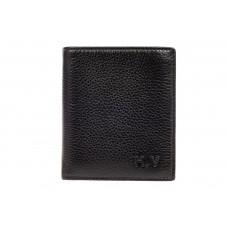 На фото 1 - Мужская визитница портмоне из натуральной кожи, цвет черный