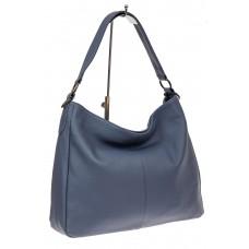 На фото 1 - Мягкая женская сумка из натуральной кожи, цвет голубой