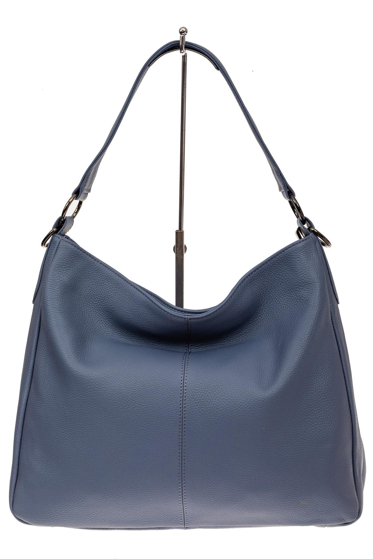 На фото 2 - Мягкая женская сумка из натуральной кожи, цвет голубой