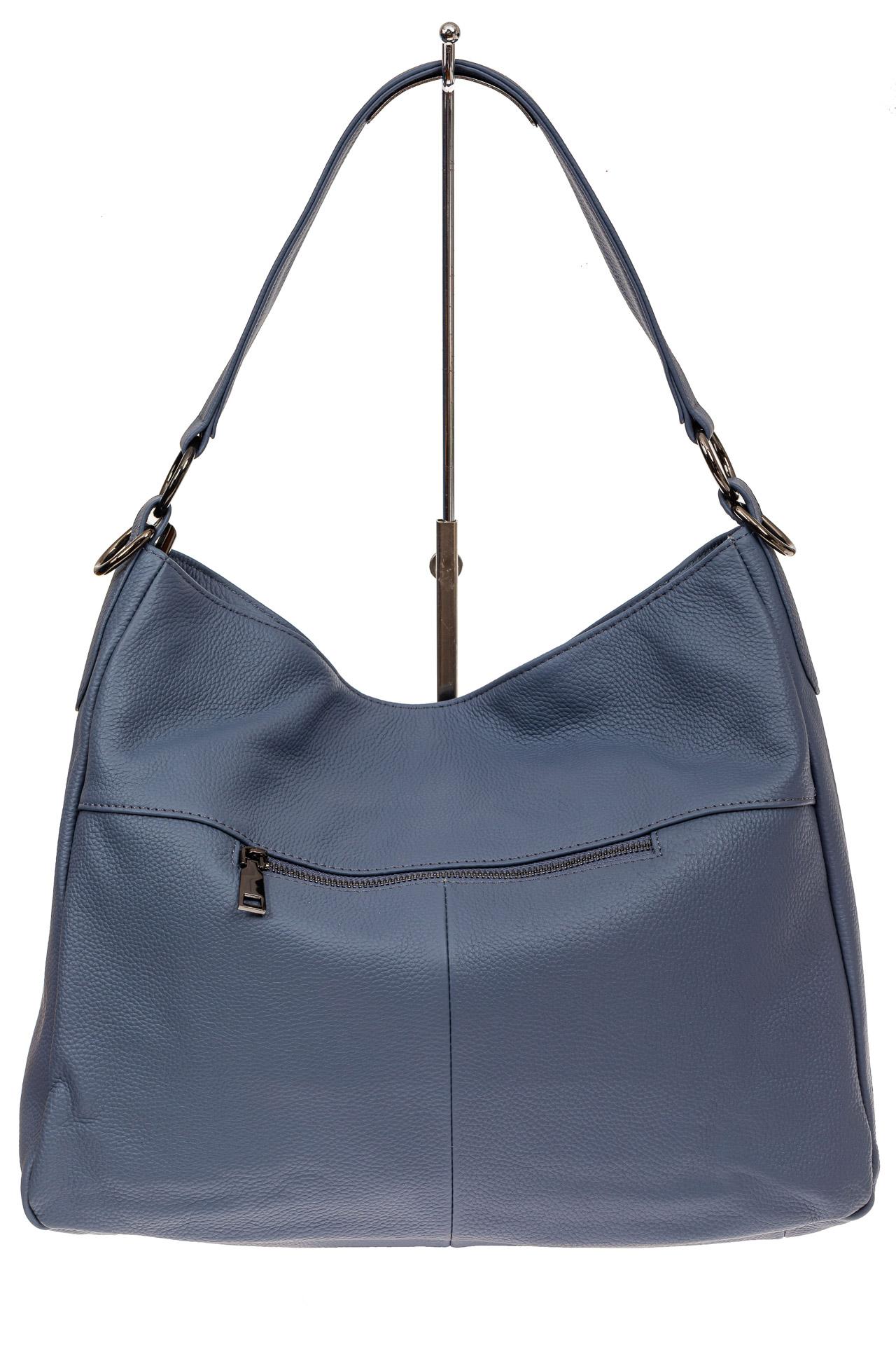 На фото 3 - Мягкая женская сумка из натуральной кожи, цвет голубой