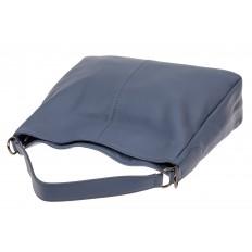 На фото 4 - Мягкая женская сумка из натуральной кожи, цвет голубой