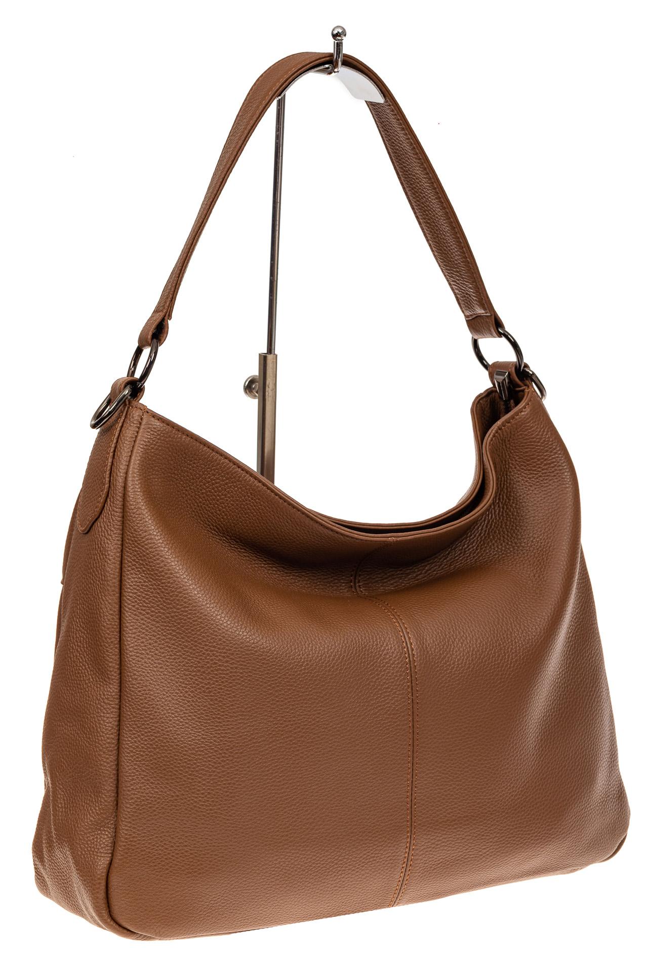 На фото 1 - Мягкая женская сумка из натуральной кожи, цвет коричневый