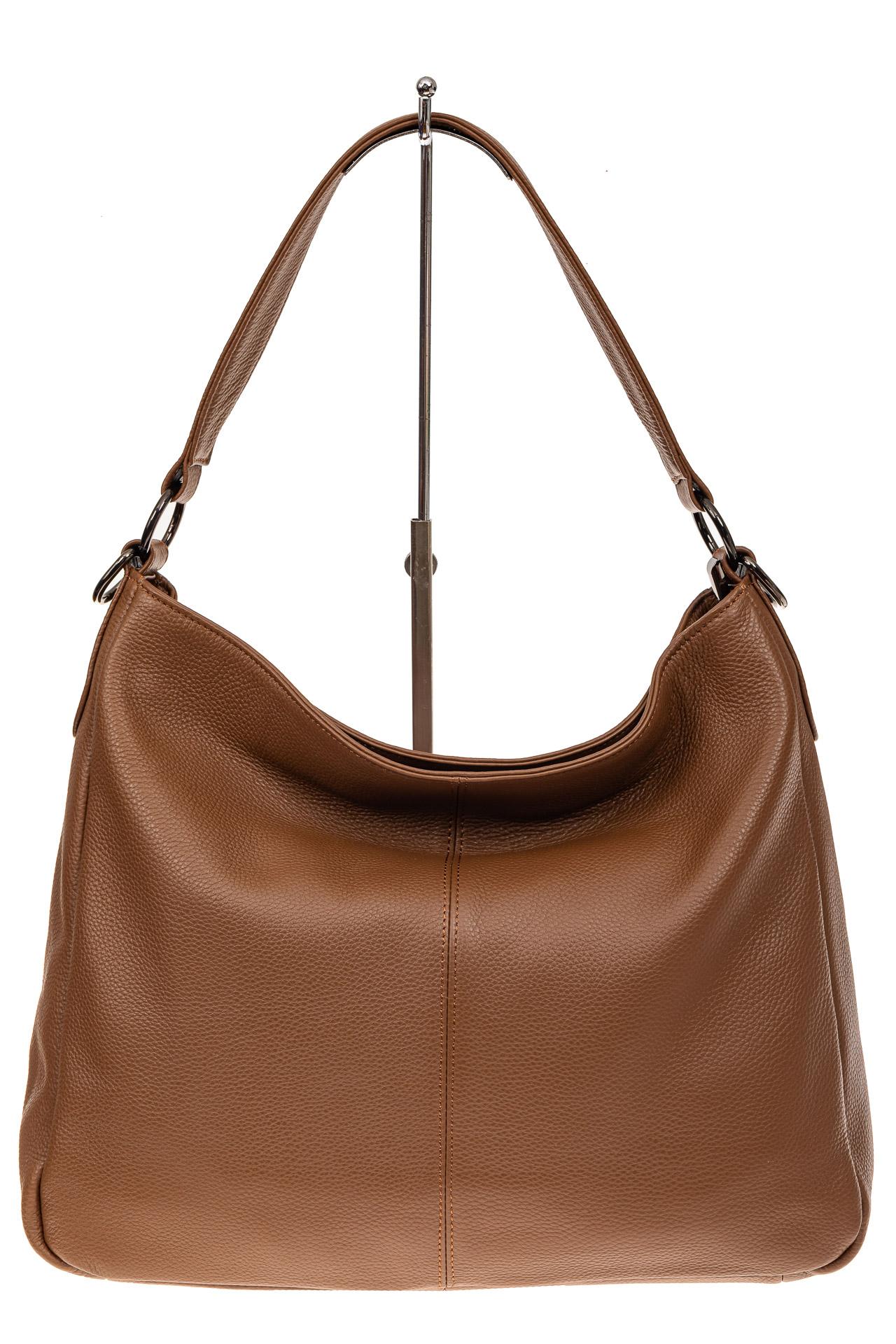 На фото 2 - Мягкая женская сумка из натуральной кожи, цвет коричневый