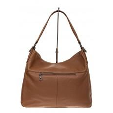 На фото 3 - Мягкая женская сумка из натуральной кожи, цвет коричневый