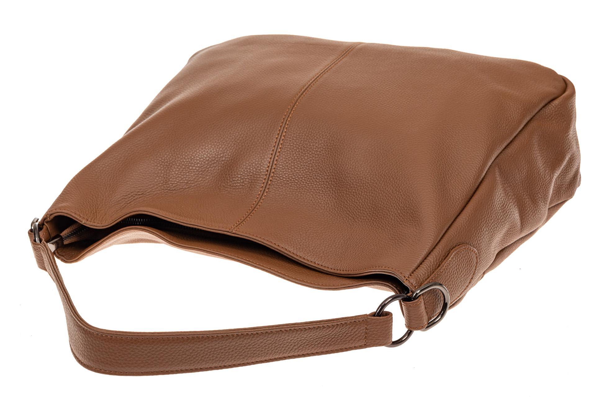 На фото 4 - Мягкая женская сумка из натуральной кожи, цвет коричневый