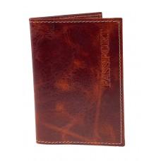 На фото 1 - Кожаная обложка для паспорта, цвет красно-коричневый