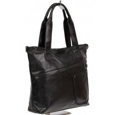 На фото 1 - Женская сумка-тоут из мягкой искусственной кожи, цвет чёрный