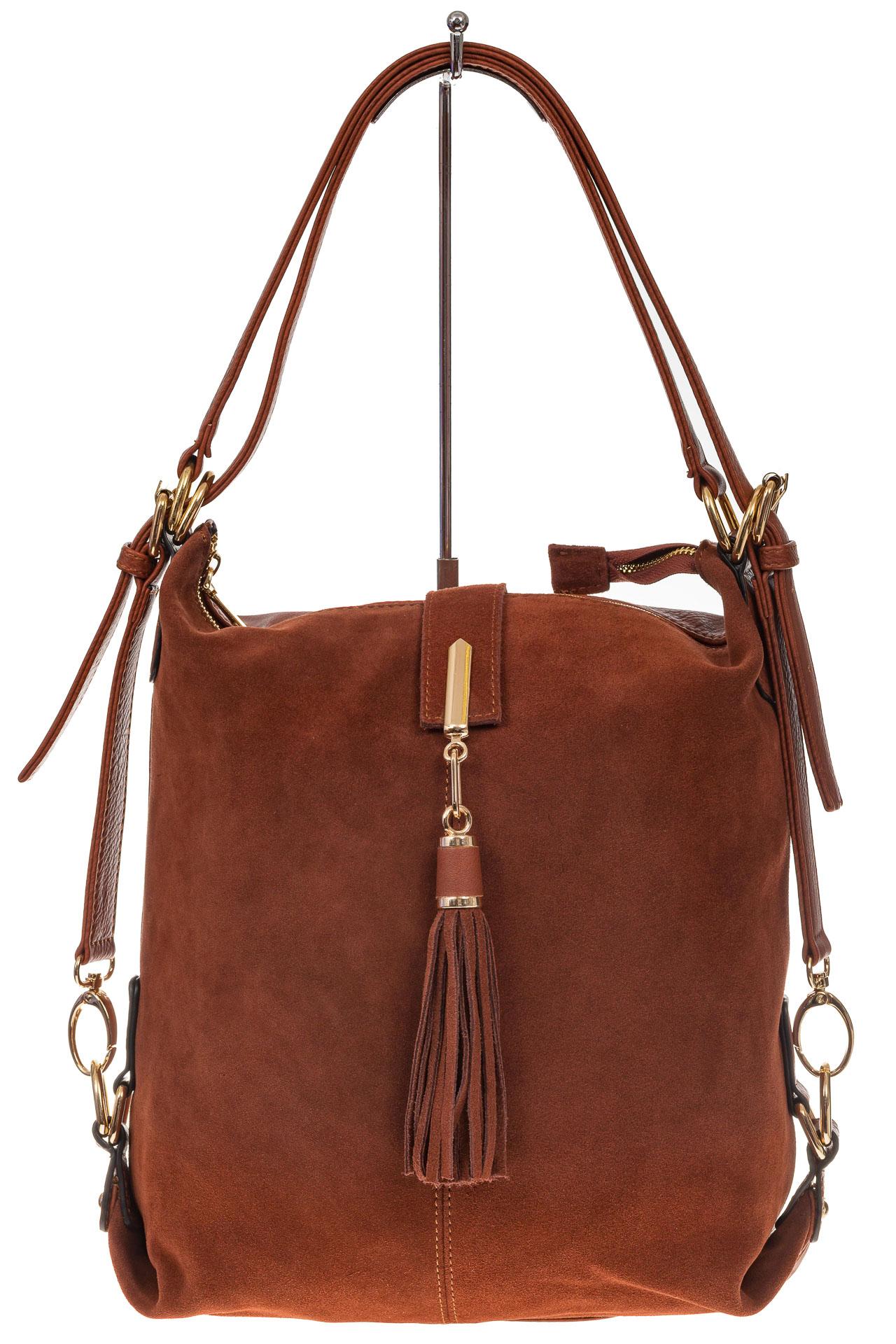 На фото 2 - Женская сумка-трансформер из замши, цвет рыжий