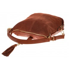 На фото 4 - Женская сумка-трансформер из замши, цвет рыжий