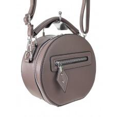 На фото 1 - Круглая женская сумочка из искусственной кожи, цвет какао