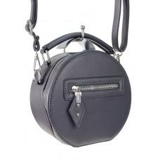 На фото 1 - Круглая женская сумочка из искусственной кожи, цвет графитовый