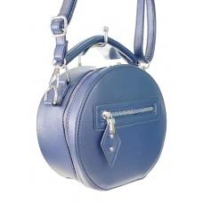 На фото 1 - Круглая женская сумочка из искусственной кожи, цвет тёмно-синий
