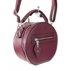На фото 1 - Круглая женская сумочка из искусственной кожи, цвет бордовый