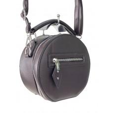 На фото 1 - Круглая женская сумочка из искусственной кожи, цвет шоколад