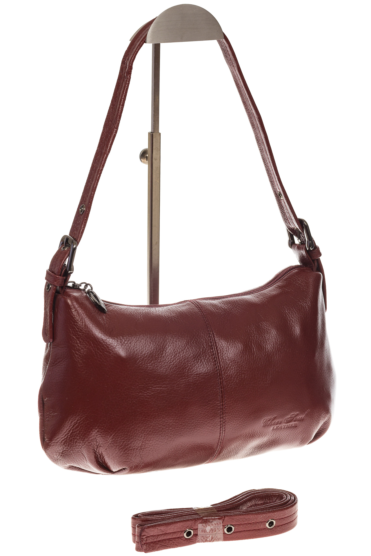 На фото 1 - Бордовая сумка-багет из мягкой натуральной кожи