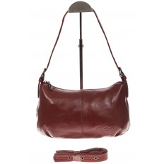 На фото 2 - Бордовая сумка-багет из мягкой натуральной кожи