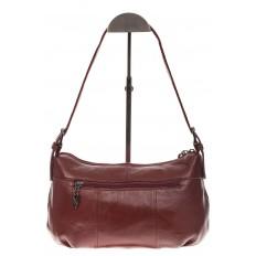 На фото 3 - Бордовая сумка-багет из мягкой натуральной кожи