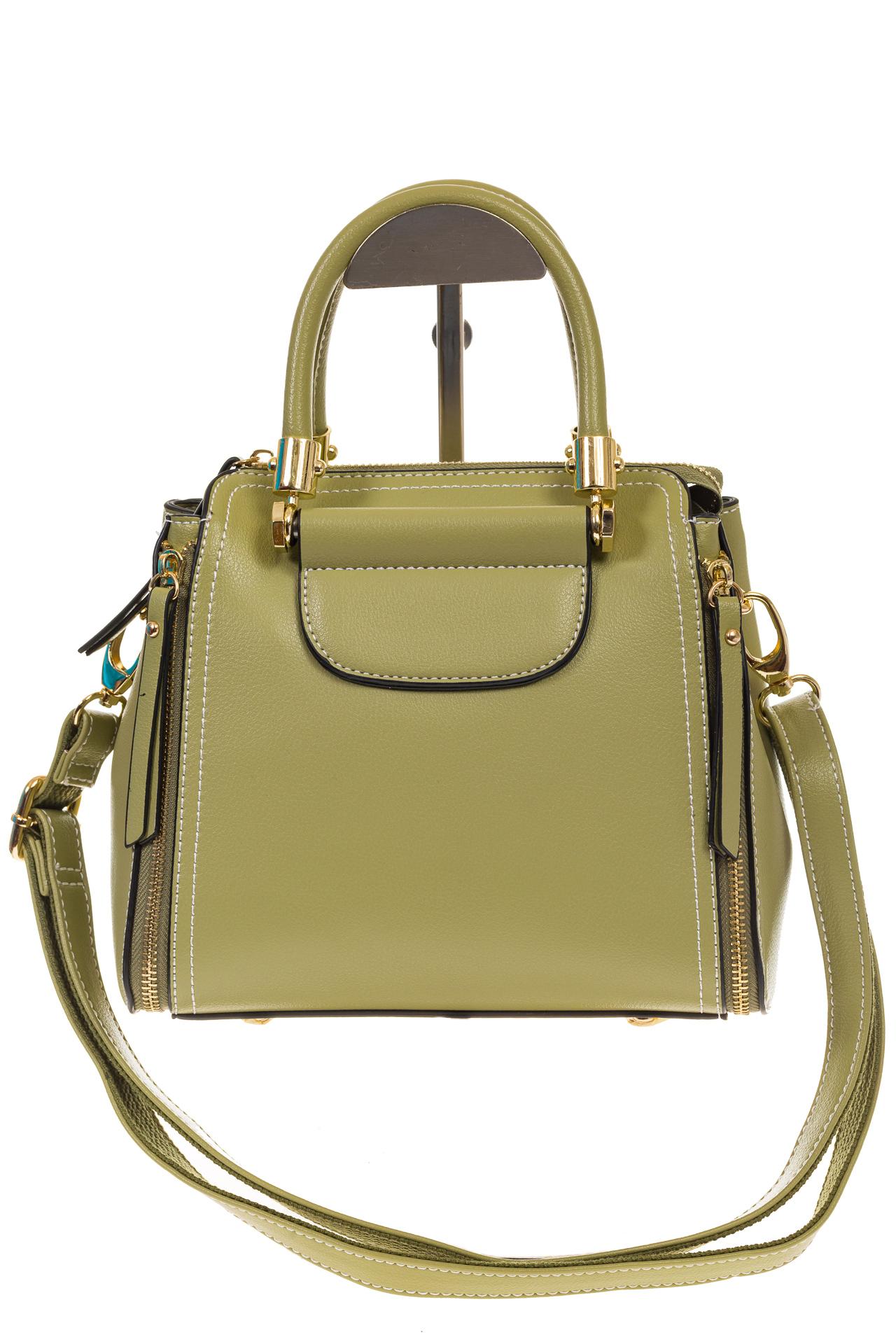 На фото 2 - Оливковая сумка-тоут из эко-кожи 5664