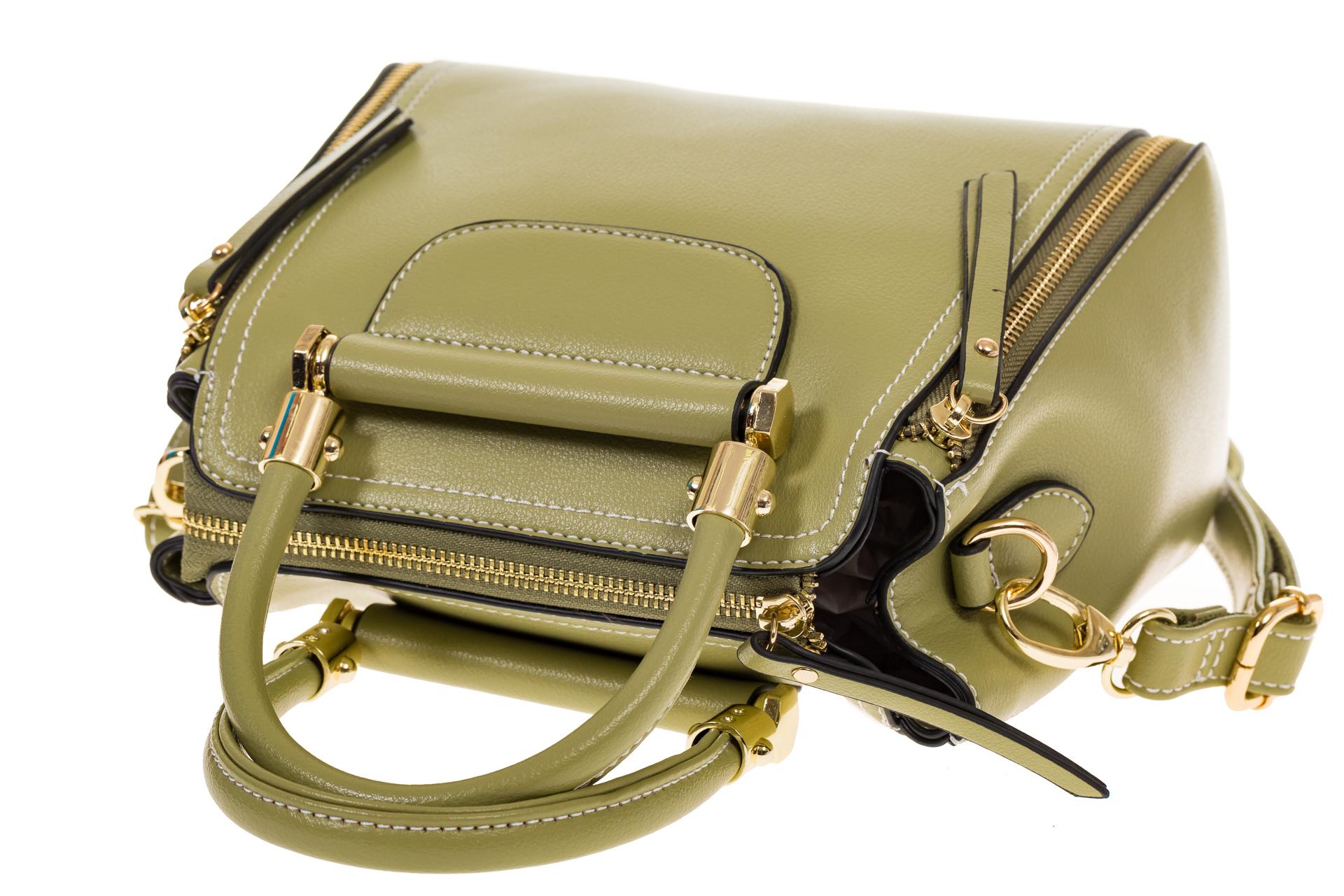 На фото 4 - Оливковая сумка-тоут из эко-кожи 5664