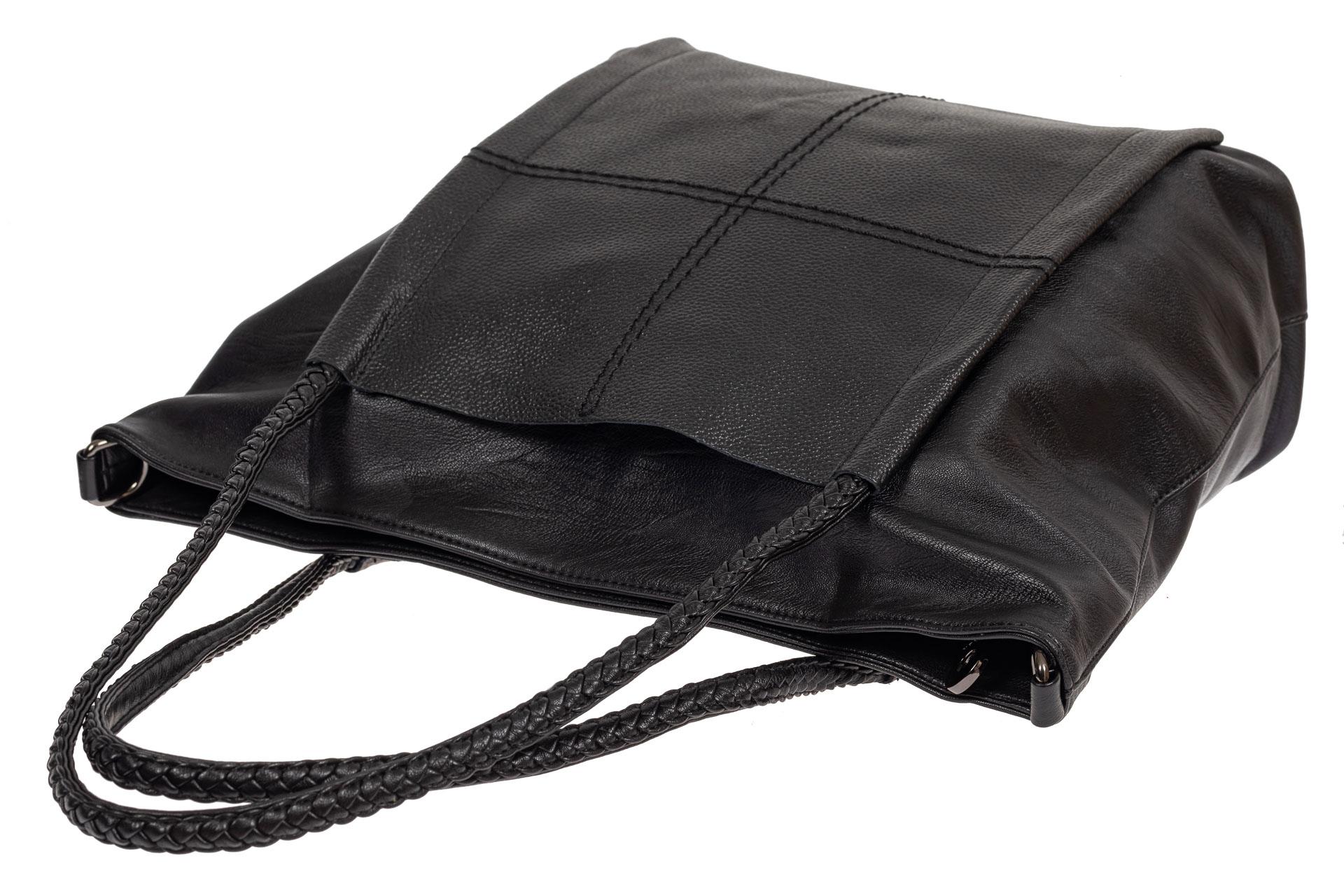 На фото 4 - Сумка тоут из искусственной кожи с плетёными ручками, цвет чёрный