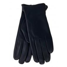 На фото 1 - Женские перчатки из мягкой кожи оленя, цвет чёрный